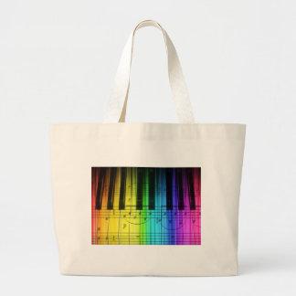 Teclado y notas de piano del arco iris bolsa tela grande