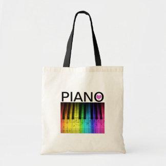 Teclado y notas de piano del arco iris bolsa tela barata