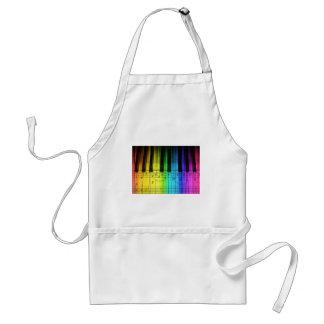 Teclado y notas de piano del arco iris delantal