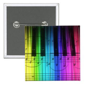 Teclado y notas de piano del arco iris pin cuadrado