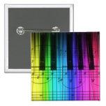 Teclado y notas de piano del arco iris pins