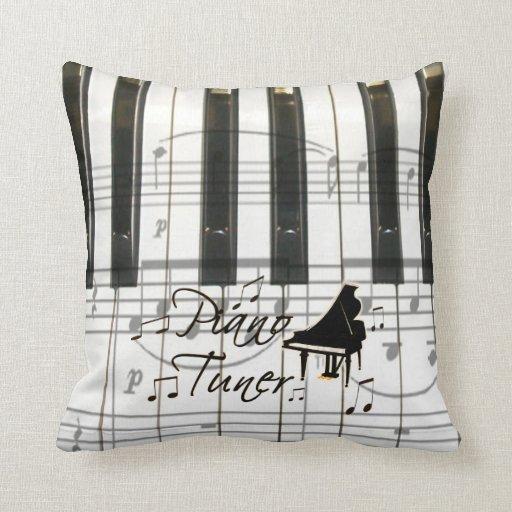 Teclado y notas del sintonizador de piano cojines