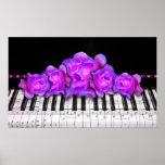 Teclado y rosas de piano impresiones