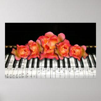 Teclado y rosas de piano póster