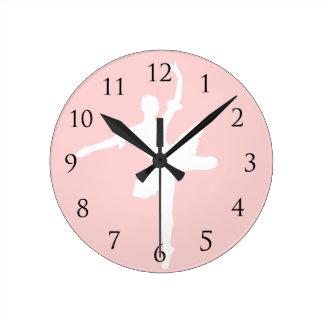 Tecleo de la pared del ballet reloj redondo mediano
