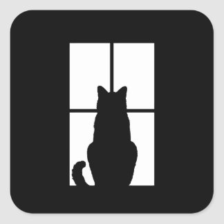 Tecleo del gato de la ventana para modificar la pegatina cuadrada