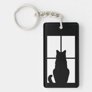 Tecleo del gato negro para modificar la opción del llavero rectangular acrílico a doble cara