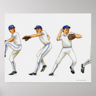 Técnica del cabeceo del béisbol, imagen múltiple póster