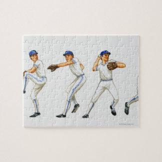 Técnica del cabeceo del béisbol imagen múltiple puzzles con fotos