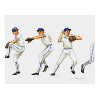 Técnica del cabeceo del béisbol, imagen múltiple postal