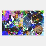 Técnicas mixtas abstractas coloridas rectangular pegatinas