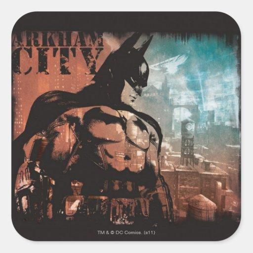 Técnicas mixtas de Batman de la ciudad de Arkham Calcomania Cuadradas Personalizadas