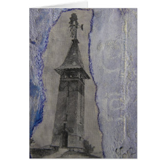 Técnicas mixtas de la torre del vintage tarjeta de felicitación