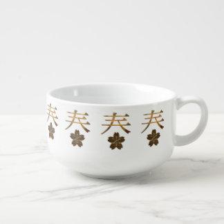 Técnicas mixtas ópticas del simbolismo japonés bol para sopa