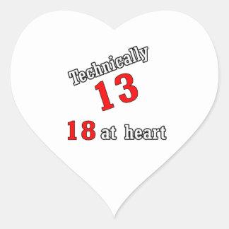 Técnico 13, 18 en el corazón pegatina en forma de corazón