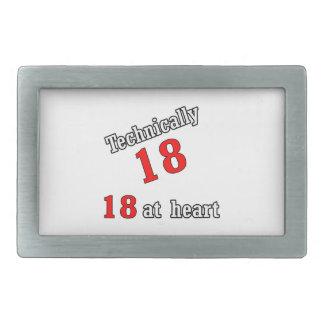 Técnico 18, 18 en el corazón hebillas de cinturón rectangulares