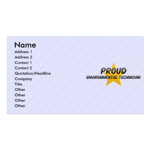 Técnico ambiental orgulloso tarjetas de visita
