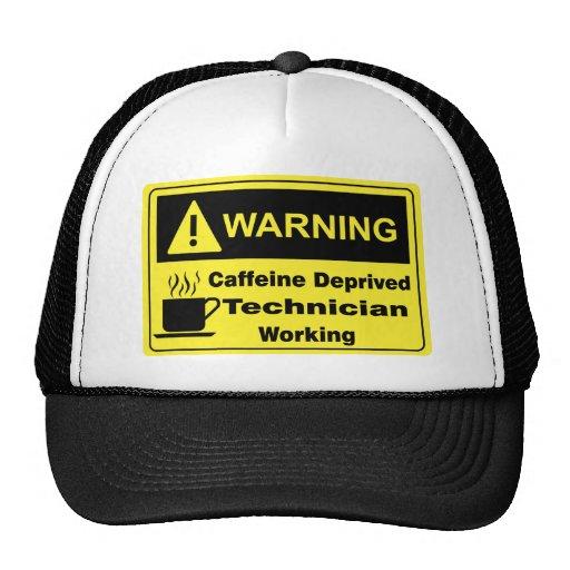 Técnico amonestador del cafeína gorras de camionero