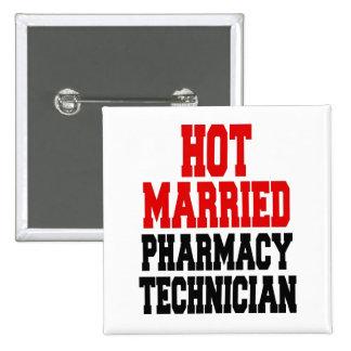 Técnico casado caliente de la farmacia pin cuadrado