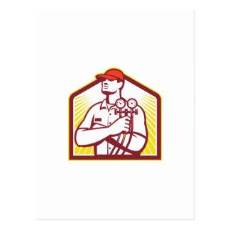 Técnico de calefacción y de enfriamiento de la tarjeta postal