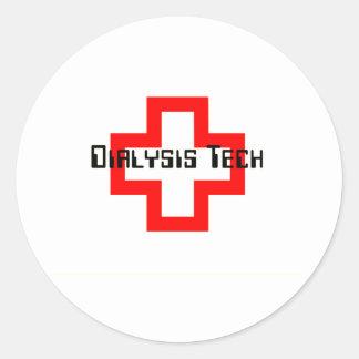Técnico de la diálisis pegatina redonda