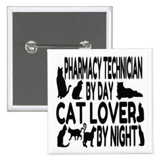 Técnico de la farmacia del amante del gato pin cuadrada 5 cm