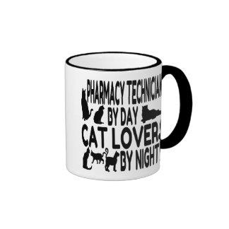 Técnico de la farmacia del amante del gato taza de dos colores