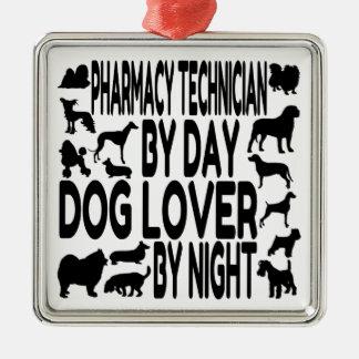 Técnico de la farmacia del amante del perro adorno cuadrado plateado