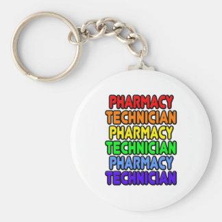 Técnico de la farmacia del arco iris llavero redondo tipo pin