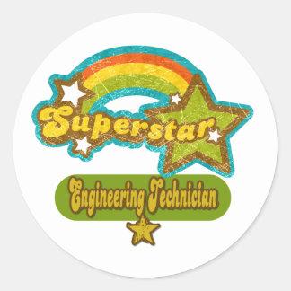 Técnico de la ingeniería de la superestrella pegatina redonda