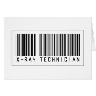 Técnico de la radiografía del código de barras tarjetas