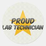 Técnico de laboratorio orgulloso pegatina redonda