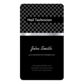 Técnico del clavo - a cuadros negro elegante tarjetas de visita