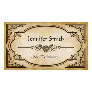 Técnico del clavo - antigüedad elegante del tarjetas de visita