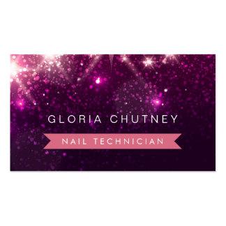 Técnico del clavo - brillo rosado de moda tarjetas de visita
