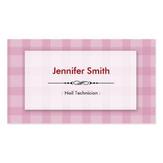 Técnico del clavo - cuadrados rosados bonitos tarjeta de visita