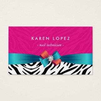 Técnico del clavo - estampado de zebra rosado de tarjetas de visita
