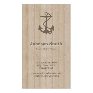 Técnico del clavo - madera náutica del ancla plantilla de tarjeta personal