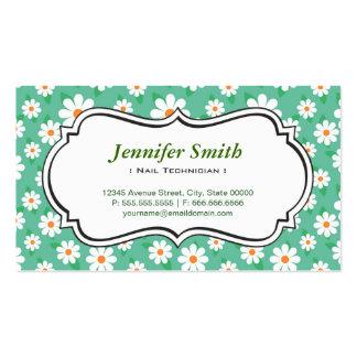 Técnico del clavo - margarita verde elegante tarjetas de visita