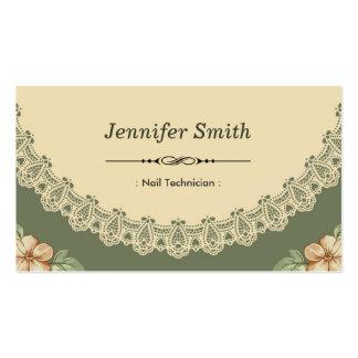 Técnico del clavo - moda del vintage floral tarjetas de negocios
