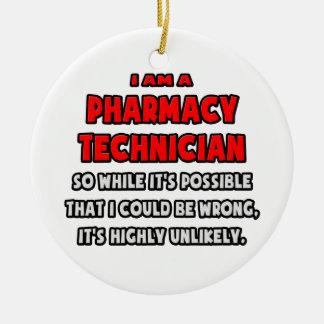 Técnico divertido de la farmacia. Altamente Adorno Redondo De Cerámica
