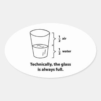 Técnico, el vidrio es siempre lleno pegatina de oval