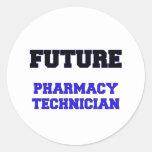 Técnico futuro de la farmacia etiqueta redonda