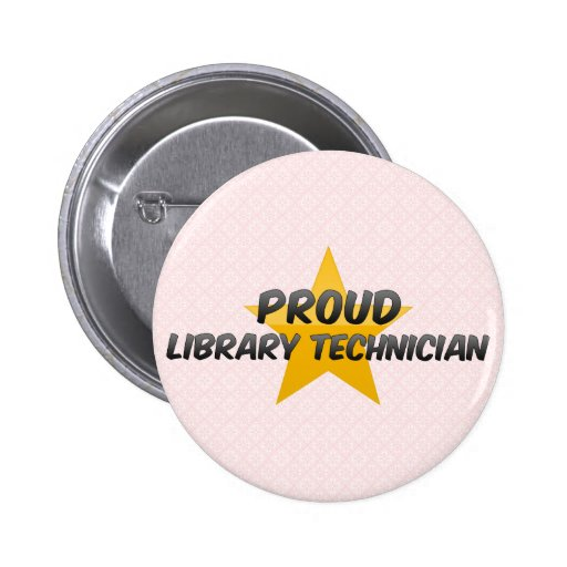 Técnico orgulloso de la biblioteca pin redondo 5 cm
