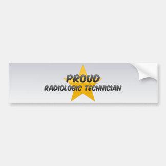 Técnico radiológico orgulloso pegatina de parachoque