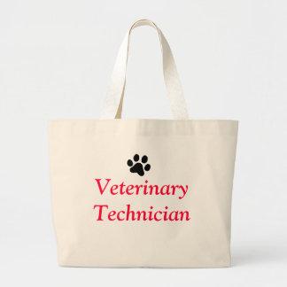 Técnico veterinario con la impresión negra de la bolsa de mano