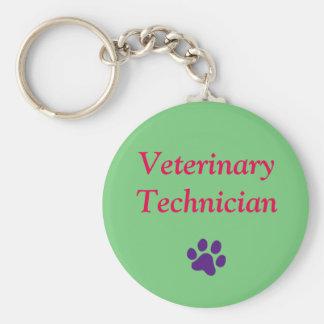 Técnico veterinario/impresión púrpura/verde de la llavero redondo tipo pin
