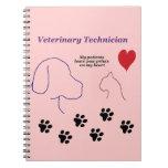 Técnico veterinario - impresiones de la pata en mi libretas