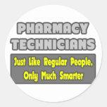 Técnicos de la farmacia. Más elegante Pegatinas Redondas