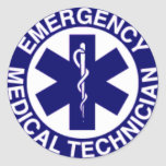TÉCNICOS MÉDICOS EMT DE LA EMERGENCIA ETIQUETA REDONDA